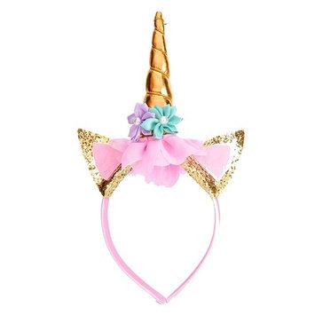 Y-Box Gold Glitter Unicorn Horn Headband, Flowers Ears Headbands for Party Decoration