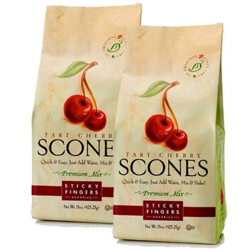 Sticky Fingers Scone Mix (Pack of 2) 15 Ounce Bags – All Natural Scone Baking Mix (Tart Cherry)