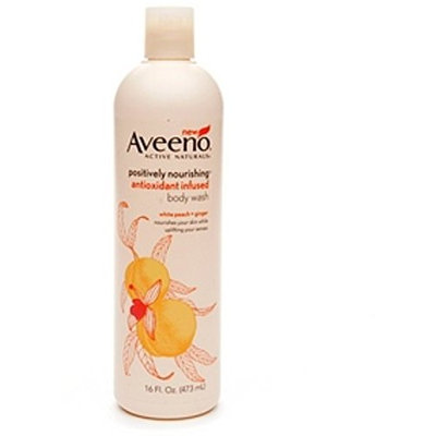 AVEENO Active Naturals Positively Nourishing Antioxidant Infused Body Wash White Peach + Ginger 16 oz (8 Pack)