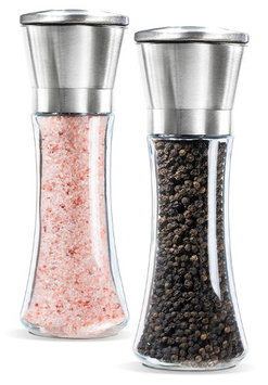 YAMO Salt and Pepper Grinder Set Brushed Stainless Steel Pepper Mill and Salt Mill