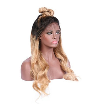 KRN Ombre Lace Front Wig Human Hair Body Wave Blonde Full Lace Wigs For Black Women 1B/27 Blonde With Dark Roots Baby Hair 130% Meidum Size And Medium Brown Lace (20 Inch, 150% Lace Front Wig)