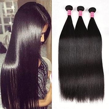 Kadoyee Straight Hair Bundles Brazilian Virgin Human Hair Extension Natural Color 18 20 22 Inch 3 Bundles for Full Head