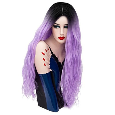 Aicos Alacos 70CM Long Wavy Curly Black Roots Ombre Synthetic Cosplay Christmas Party Costumes Wigs for Women Plus Free Wig Cap (Pale Purple)