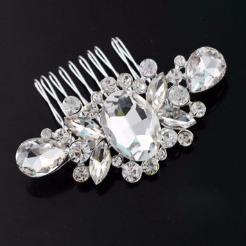 Feshionn Iobi Facets Crystal and Silver Plated Hair Comb Silver