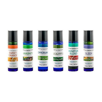 SpaRoom Aromatherapy Top 6 Essential Oils Starter Kit, 100% Pure of The Highest Quality, Sweet Orange/Peppermint / Eucalyptus/Immunity Blend/Signature Blend/Sleep Blend Therapeutic Grade