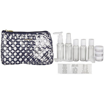 Isaac Mizrahi 10-Piece Travel Bottle Set (Navy Geo)