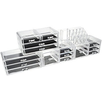 Unique Home Makeup Cosmetic Organizer Conceal/Lipstick/Eyeshadow/Brushes in One place Storage Drawers, Clear, XX-Large, 5 Piece Set