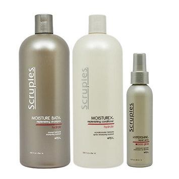 Scruples Moisture Bath Shampoo & Conditioner 33.8oz & Hypershine Repair Spray 4oz