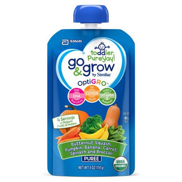 Abbott Laboratories,abbn7 Go & Grow by Similac Fruit and Veggie Pouches with OptiGRO, Butternut Squash, Pumpkin, Banana, Carrot, Spinach, Broccoli Puree, For Toddlers, Organic Baby Food, 4 oz (Pack of 12)