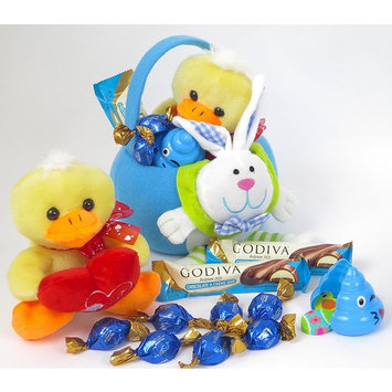 Godiva Candy and chocolate bars are included in this Kids Plush bunny built into the fabric of this Easter basket with plush Duck.