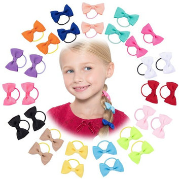 30 Pack: HBY Girls No Crease Ouchless Stretch Elastic Hair Bow Ties Ponytail Holders