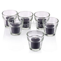 Light In The Dark Clear Glass Flower Pot Votive Candle Holders with Black Votive Candles Burn 10 Hours Set Of 72