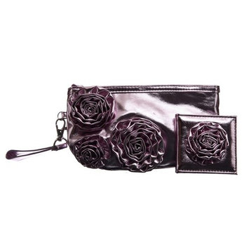 Danielle by Upper Canada Soap Danielle Pink Bloom Clutch and 1x-5x Compact Mirror Set