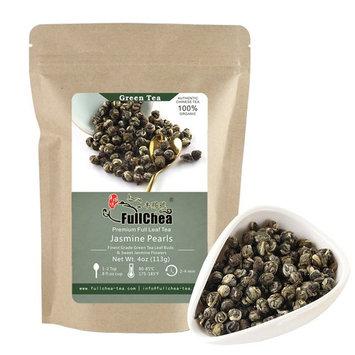 FullChea Jasmine Pearls Full-leaf Green Tea, Organic Chinese Tea Bulk Pouch 4oz/113g