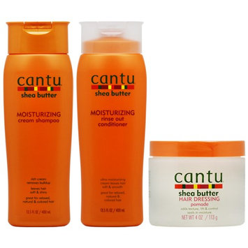 Cantu Moisturizing Shampoo + Rinse Out Conditioner + Hair Dressing Pomade 4oz 'Set' (Pack of 3)