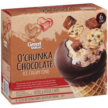 Great Value O'chunka Chocolate Ice Cream Cones,-4.3 fl oz, 6 count