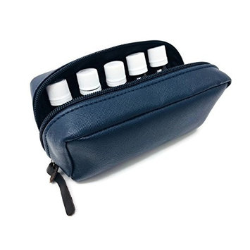 10-Bottle Essential Oil Carrying Case (5ml, 10ml, 15ml) for doTERRA, Young Living Bottles for Aromatherapy Travel or Storage (Navy)