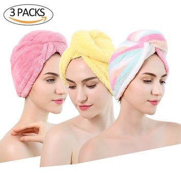 Aigerek 3 Pack Hair Drying Towel Microfiber Elastic Fast Drying Hair Cap Long Hair Wrap Absorbent Twist Turban Red Yellow Stripe
