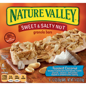 Nature Valley Granola Bars  Sweet and Salty Nut, Toasted Coconut, 6 Bars, 1.2 oz