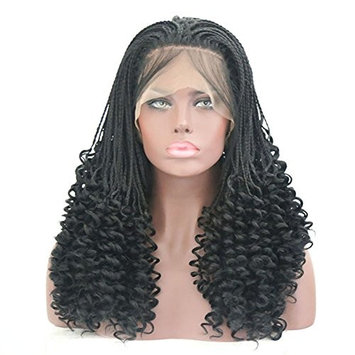 Rongduoyi Micro Braids Wig With Curly End Black Synthetic Lace Front Wigs Half Braided Wigs African Hair For Black Women Heat Resistant Hair 18Inch