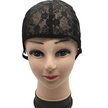 Pretty See Elastic Wig Cap Soft Mesh Nylon Hair Wig Cap with Adjustable Straps, Black