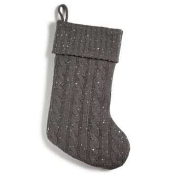 Gray Knit Stocking With Sequins, Created for Macy's