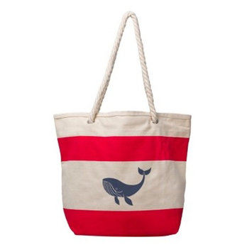 Women's Whale Striped Canvas Tote - Cathy's Concepts