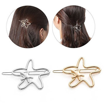 2Pcs Starfish Hollow Metal Hair Pins,Simple Hair Clip Clamps for Women,Minimalist Dainty Hair Barrettes for Girls (Gold/Silver)