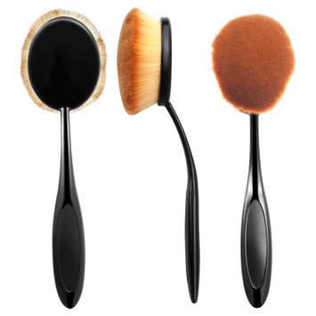 Zodaca Large Head Oval Cream Puff Cosmetic Toothbrush Shaped Powder Makeup Contouring Blending Foundation Brush - Black/Brown (1 Count)
