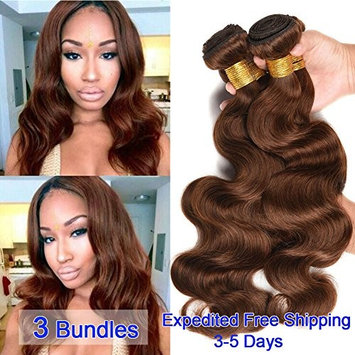 Black Rose Hair 8A Remy Brazilian Virgin Hair Body Wave 3 Bundles 100% Unprocessed Human Hair Weave Color 4# Medium Brown Brazilian Body Wave Hair Bundles (95-100g/piece,10