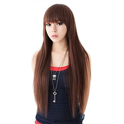 BESTLEE 28 inch Cute Grils' Heat Resistant Fiber Long Straight Cosplay Party Wigs with Bangs