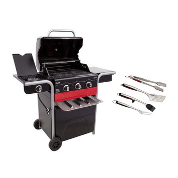 Char-Broil Gas2Coal 3 Burner Gas and Charcoal Combo Grill + 4 Piece Tool Set