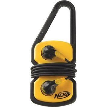 NERF N822Y Earphones with Carabiner Clip Cord Wrap
