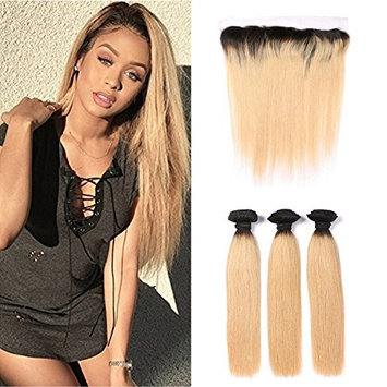 Ruma Hair Two Tone 1B 27 Honey Blonde Dark Roots Ombre Silky Straight Virgin Human Hair Extensions 3 Bundles With 13x4 Ear to Ear Full Lace Frontal Closure 4Pcs Lot