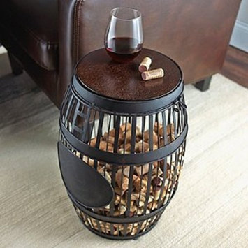 Wine Enthusiast Barrel Cork Catcher Accent Table - Holds 400 Corks