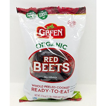 Gefen Organic Red Beets Whole Peeled Cooked Ready To Eat - Beets Made Easy! One 1lb. Package