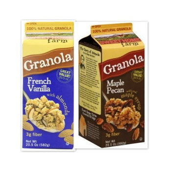 Sweet Home Farm Variety Bundle, 20.5 oz (Pack of 2) includes 1-Pack of French Vanilla Granola With Almonds + 1-Pack of Maple Pecan with real maple syrup