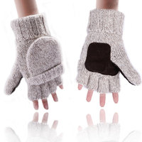 HDE Fingerless Winter Gloves Flipover Insulated Thermal Knit Texting Mittens (Beige)
