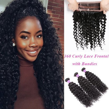 YoungFace 8A 360 Curly Lace Frontal with Bundles Brazilian Kinky Curly Virgin Hair 3 Bundles with 360 Lace Frontal 100% Unprocessed Hair Extensions Natural Color (22 24 26+20 360 frontal)