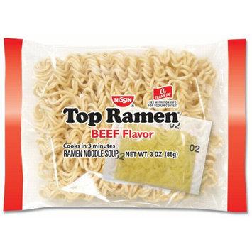 Nissin Top Ramen Noodles, Beef, 3 Oz, 24 Ct
