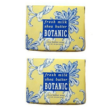 Greenwich Bay Trading Company Botanical Collection 10.5oz Soap Bundle: Set of 2 Fresh Milk & Shea Butter 10.5oz Wrapped Soaps