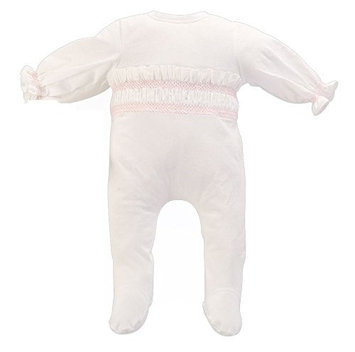 Cream Bebe Cotton Cross-ruffle Design Infant Footed Romper (0-3 Months, pink)