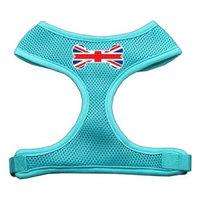 Mirage Pet Products Bone Flag UK Screen Print Soft Mesh Dog Harnesses, Small, Aqua