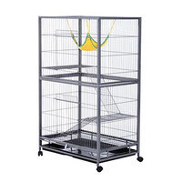 Pawhut 59 Indoor Hutch Small Animal Pet Cage with Stand - Black