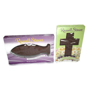 Russell Stover Cross & Solid Milk Chocolate Jesus Fish, 4 Oz (2 Pack Bundle)