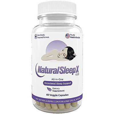 Natural Sleep X - The All-in-One Natural Sleep Aid - Unique Blend of Melatonin, 5-HTP, Valerian, GABA, Chamomile, Herbal Extracts, Vitamins, Minerals and Amino Acids - 60 Veggie Capsules