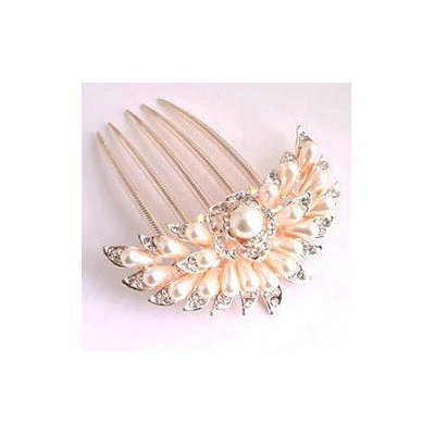 Feshionn Iobi Blossoming Pearl Flower and Crystal Gold Plated Hair Comb Gold