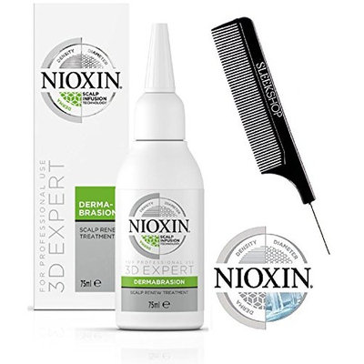Nioxin 3D Expert SCALP RENEW Treatment DERMABRASION, for complete scalp exfoliation, Scalp Infusion Technology (with Sleek Steel Pin Tail Comb) (2.5 oz/75 ml)
