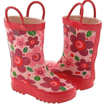 Pluie Pluie Toddler Little Girls Pink Flower Rain Boots 5-2
