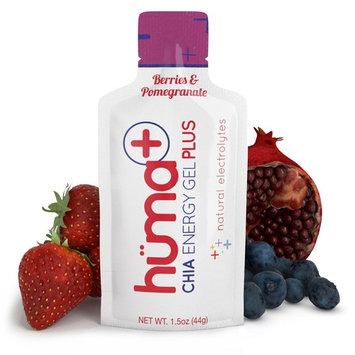 Huma PLUS - Chia Energy Gel, Berries & Pomegranate, 12 Gels - Natural Electrolyte Enhanced Energy Gel